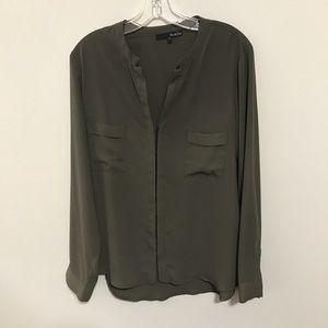Ro & De Long Sleeved Button Front Green Blouse SzL